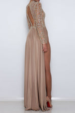 Sheer Sequins Long Sleeves Prom Dress Sexy High Slits Party Dress OP391