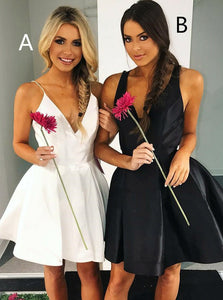 V-Neck Pleated A/B Pattern Little White/Black Dresses, Short Prom Party Dresses, OP193