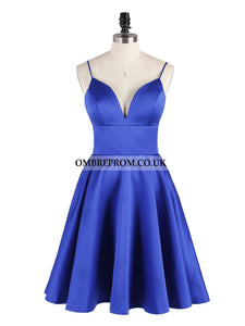 Spaghetti-straps V-neck Satin Short Royal Blue Backless Prom Dresses, OP165