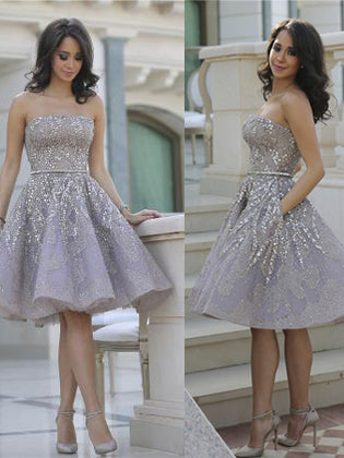 Sparkly Beads Short Prom Dress Silver Sequins Homecoming Dress, OP204