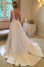 Simple A-Line Bateau Satin Backless Wedding Dress With Train OW381