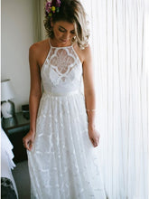 Simple A-Line Halter Lace Beach Wedding Dress OW353