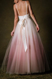 Simple A-line Ombre Prom Dress Low Back Long Evening Gown OP616