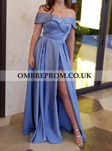 Simple Blue Satin Off The Shoulder Long Prom Dresses, Sexy Slit Party Dress OP291