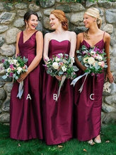 Simple Burgundy Long Bridesmaid Dresses Long Wedding Party Dresses