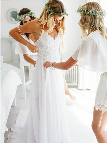 Simple Chiffon Spaghetti Backless Beach Wedding Dress With Applique OW378