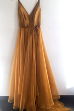 Simple Gold Long Prom Dress V neck Bodice With Spaghetti-Straps OP413