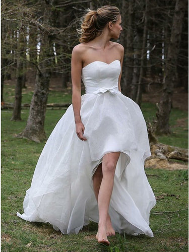 Simple High Low Organza Beach Flowy Wedding Dress with Bowknot OW348