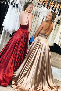 Simple Long Prom Dresses Spaghetti-straps, Sexy Backless Evening Gowns OP604