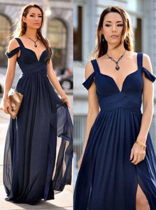 Simple Navy Blue A-line Straps Drop Sleeves Split Long Prom Dress OP334