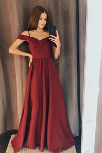 Simple Off-Shoulder Prom Dress Long Bridesmaid Dresses With Slit OP458