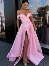Simple Off-the-shoulder Satin Pink Long Prom Dress with Slit OP661