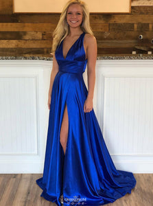 Simple Royal Blue Long Prom Dress V-Neck Criss-Cross Back With Slit OP548
