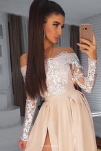 Simple Satin Long Prom Dress Lace Off-Shoulder Long Sleeves With Slit OP543