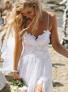 Simple Spaghetti-straps Tulle Lace Applique Beach Sheath Wedding Dress OW345