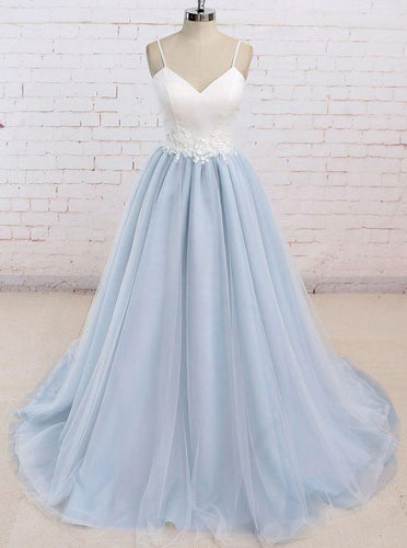 Simple Spaghetti Straps Tulle Waist Appliques Baby Blue Backless Prom Dress OP315