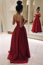 Simple Strapless Satin Floor Length Red Long Prom Dress OP343