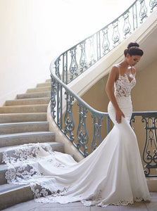 Timeless Mermaid Spaghetti Strap Summer Beach Wedding Dresses Lace Applique OW365