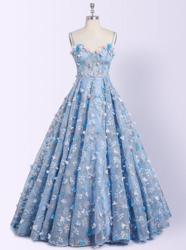 Sky Blue Long Prom Dresses 3D Mesh Flower Applique Ball Gowns OP428