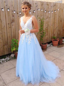 Sky Blue Long Prom Dresses For Teens Tulle Graduation Party Dresses OP473