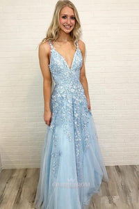 Sky Blue Prom Dress Long V-neck For Teens Lace Party Dress OP480
