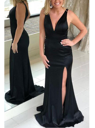 Sleek V-neck Black Long Prom Dress with Split, Sexy Evening Dress OP345