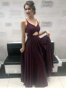 Spaghetti-straps Cross Back Long Prom Dress, Burgundy Backless Evening Dress OP353
