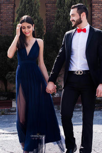 Spaghetti-straps Dark Blue Tulle Long Prom Dress Deep V-neck With Split OP489