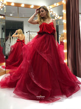 Spaghetti-straps Organza Long Burgundy Prom Gown Backless Party Dresses OP467