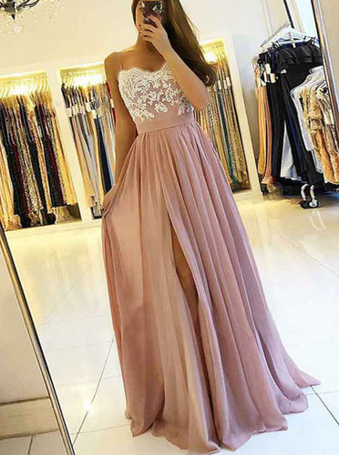Spaghetti Appliqued Sweetheart Chiffon Prom Dress With Slit OP734
