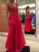 Spaghetti Strap Lace Bodice Chiffon Red Long Prom Gown OP507