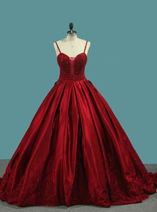 Spaghetti Straps Backless Red Ball Gown Prom Dress Rhinestone Quinceanera Dresses OP360