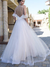 Spaghetti Straps Lace Dropped Sleeves Flowy Backless Tulle Beach Wedding Dress OW340