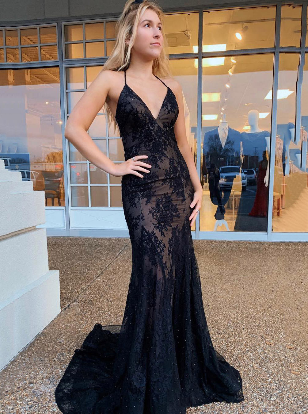 Spaghetti Straps Mermaid Prom Dress V Neck Tulle Backless Party Gown OP581