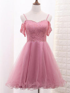 Spaghetti Straps Tulle Lace A Line Drop Shoulder Homecoming Dresses OM131