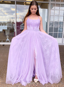 Spaghetti Straps Tulle Lilac Prom Dress, Backless School Dance Dress OP648