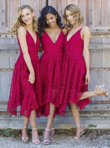 Spaghetti Straps V-neck Asymmetrical Lace Short Bridesmaid Dresses, OB147