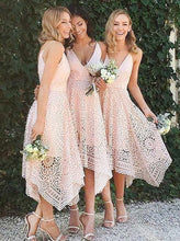 Spaghetti Straps V-neck Asymmetrical Lace Short Pink Bridesmaid Dresses, OB169