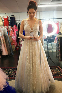 Sparkly A-Line Deep V-neck Floor-Length Tulle Backless Prom Dress OP553