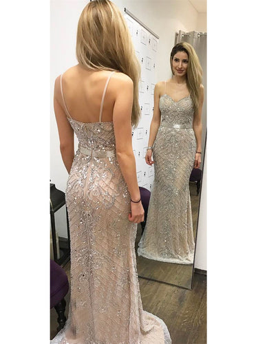Sparkly Beading Spaghetti Straps Mermaid/Trumpet Prom Dress OP292