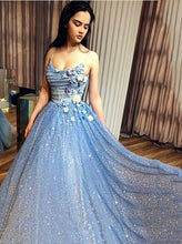 Sparkly Blue Sequin Prom Dress A-Line Spaghetti Straps With 3D Florals OP637