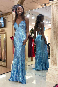 Sparkly Blue V Neck Sequins Mermaid Prom Dress Backless Evening Gown OP498