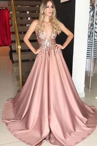 Sparkly Satin A-Line Deep V-neck Blush Long Prom Dress OP395