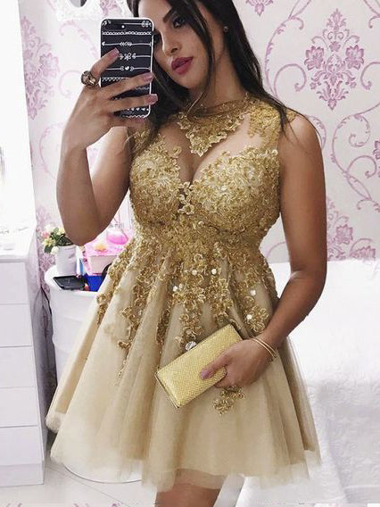 3d9019f713d ... Sparkly Gold Short Prom Dress with Appliques, Lace Party Dress, OP236