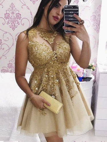 Sparkly Gold Short Prom Dress with Appliques, Lace Party Dress, OP236