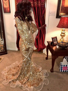 Sparkly Long Sleeves Gold Prom Dress Mermaid Sequins Evening Dress OP385