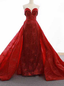 Sparkly Sequins Red Sweetheart Sheath Formal Gown Overskirt Pageant Dresses OP750