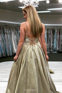 Sparkly Spaghetti-straps V-neck Satin Lace Up Prom Pageant Dresses OP486
