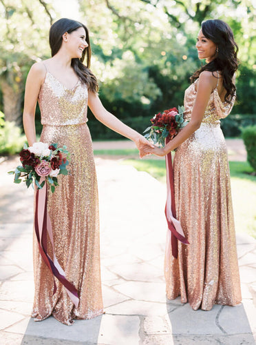 Sparkly Spaghetti Straps Cowl Cross Back Rose Gold Sequin Bridesmaid Dresses OB164