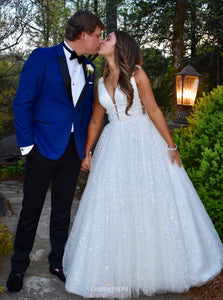 Sparkly Tulle A Line V Neck White Backless Sequin Wedding Dresses OW373